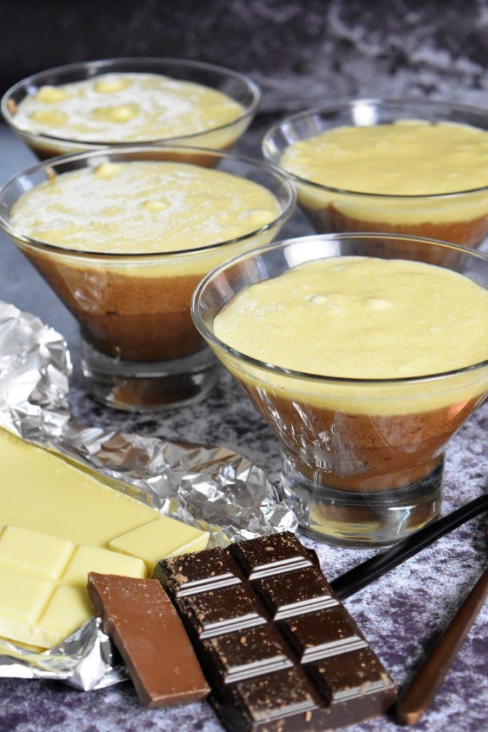 Mousse chocolat noir, blanc et au lait