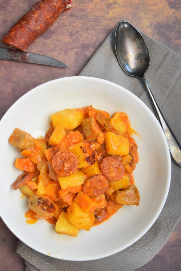 Porc au chorizo, patates douces et pommes de terre