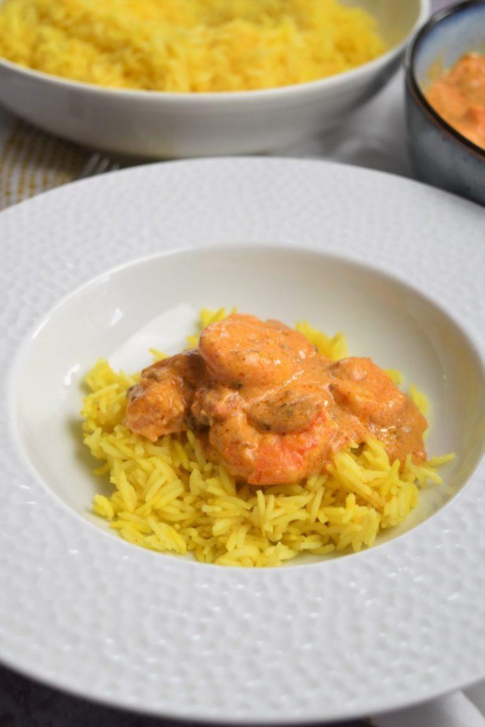Crevettes au pesto et riz
