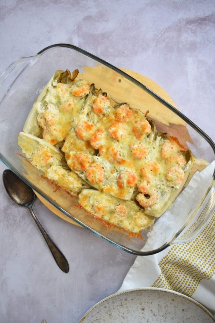 Gratin d'endives aux crevettes et mozzarella
