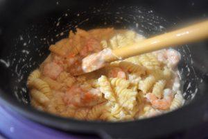 Cuisson des pâtes aux crevettes au Cookeo
