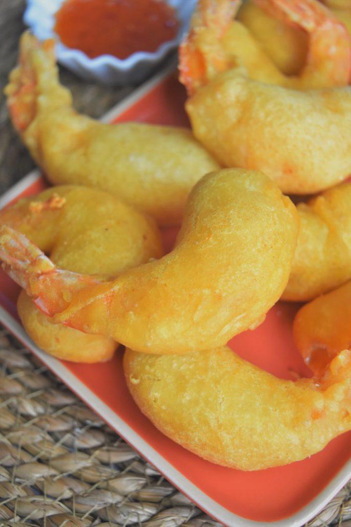 Beignets de crevettes et sauce piment