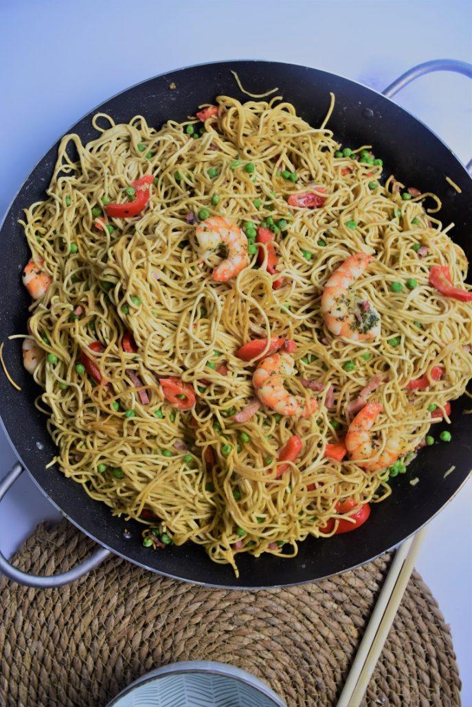 Nouilles chinoises aux grosses crevettes