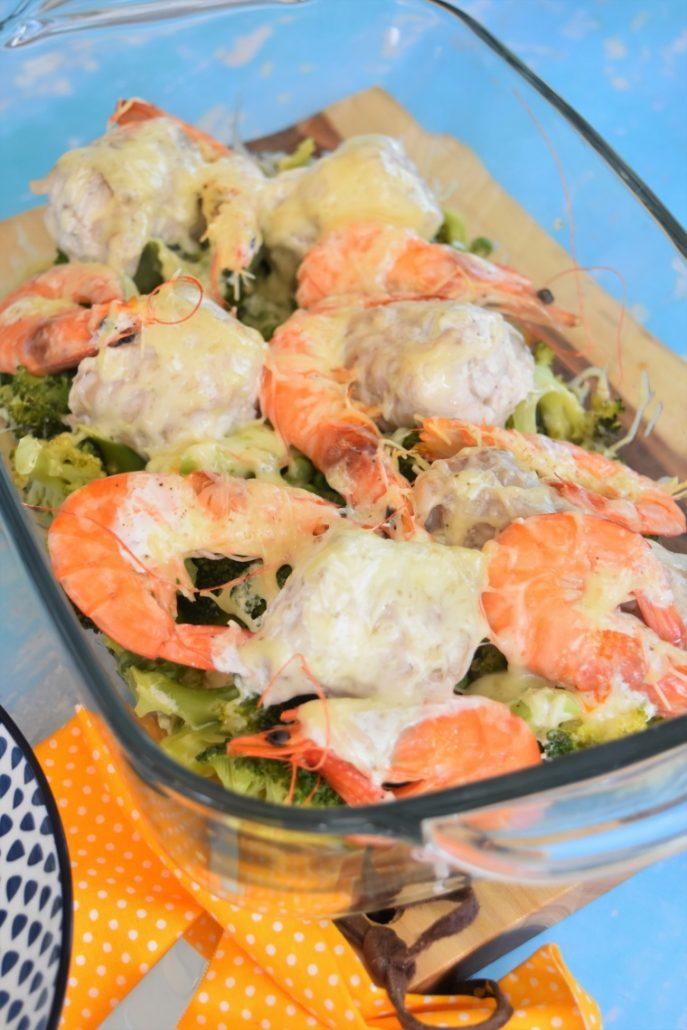 Saumonette aux crevettes et brocoli