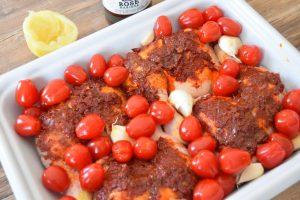 Poulet rôti à la harissa, tomates cerise