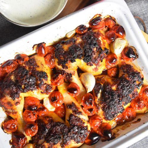 Cuisses de poulet à la harissa à la rose