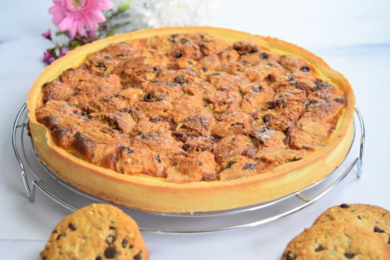 Tarte à la pâte à tartiner et cookies nougatine