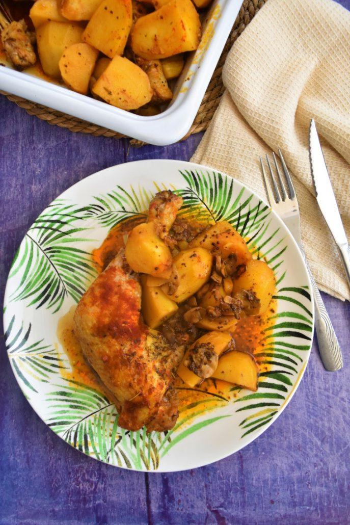 Cuisses de poulet à la moutarde et pommes de terre