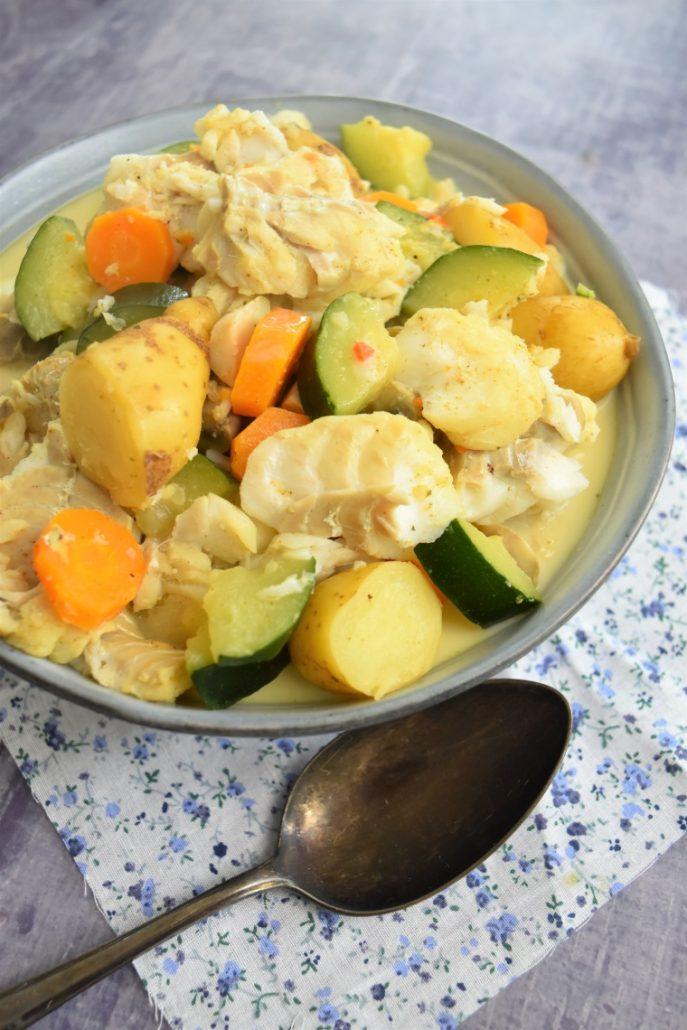 Cabillaud aux légumes et curry