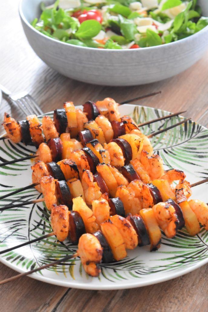 Brochettes maison aux crevettes et chorizo