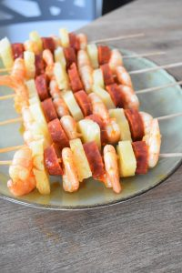 Brochettes maison aux crevettes