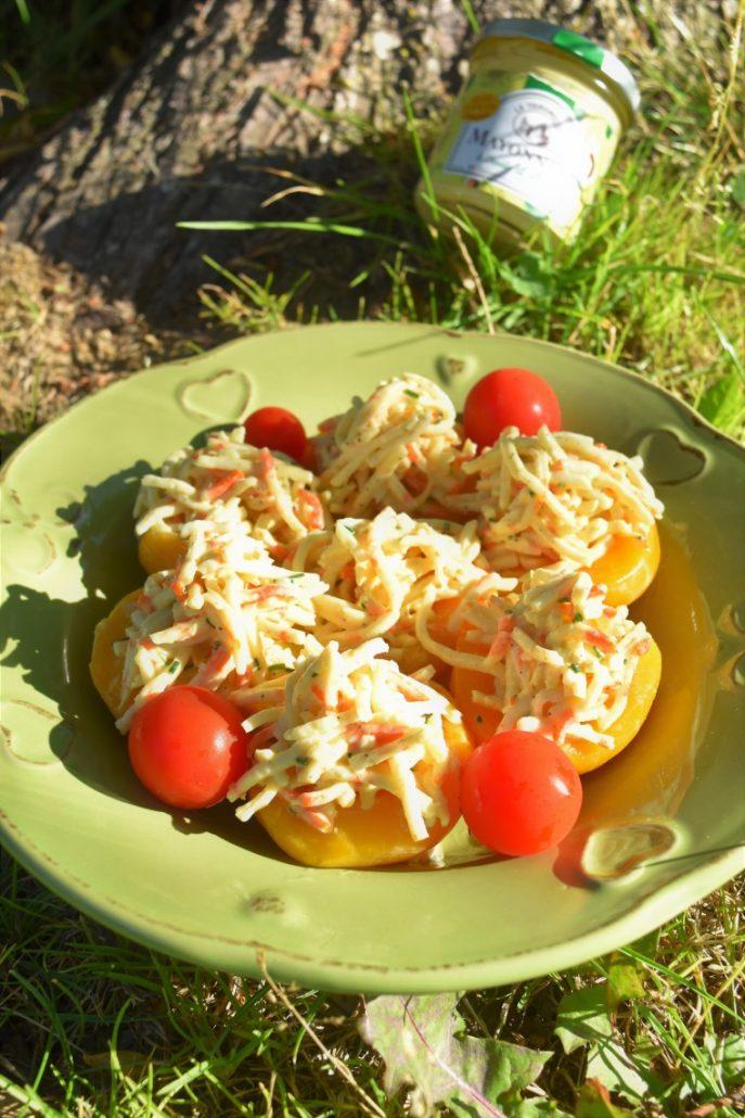 Pêche au sirop au surimi à la mayonnaise à l'huile d'avocat