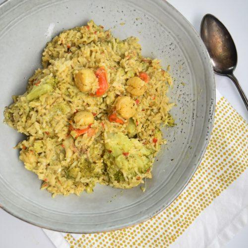 Riz au brocoli et noix de Saint-Jacques au Cookeo