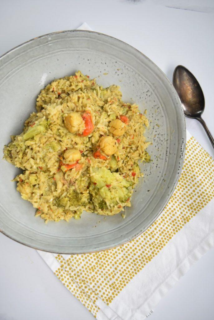 Riz au brocoli et saint-jacques au Cookeo