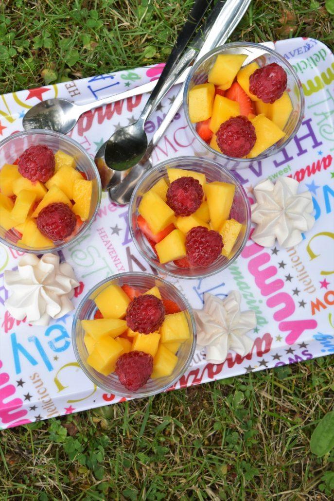 Coupe à la fraise, mangue, framboise