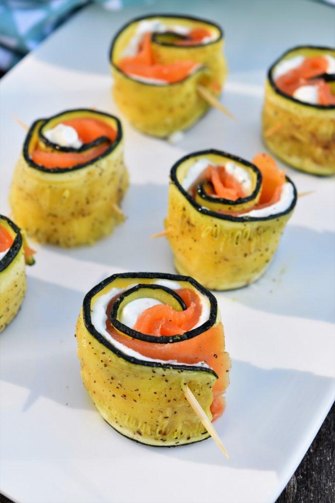 Rouleaux de courgette au fromage et poisson