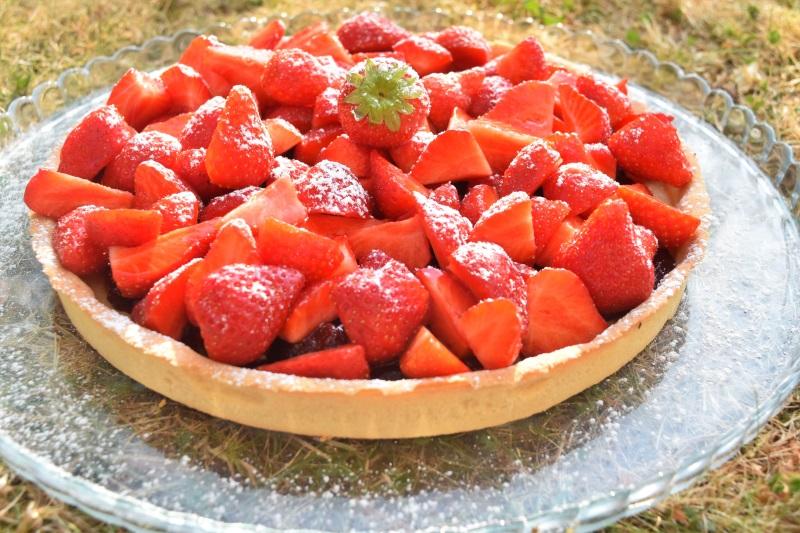 Tartes aux fraises et fraises confites
