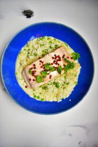 Saumon thaï et riz petits pois