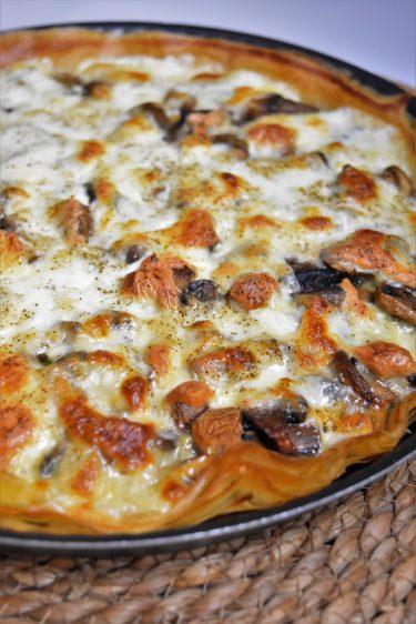 Tarte aux champignons et fromages