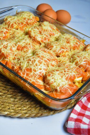 Gratin de pâtes aux oeufs durs et tomate