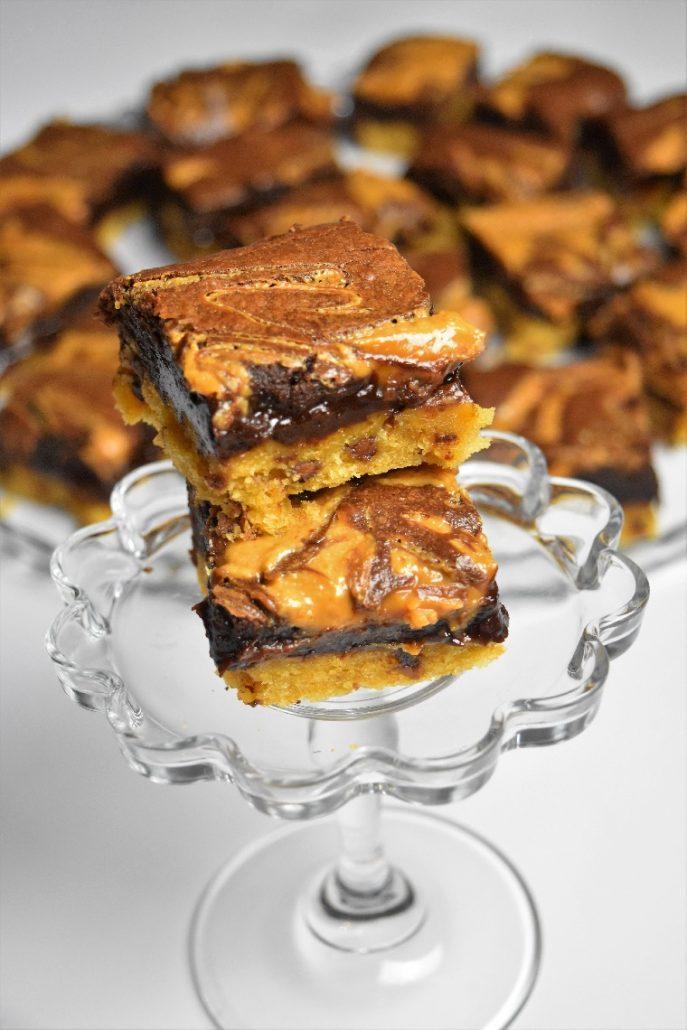 Carrés brookies chocolat beurre cacahuète