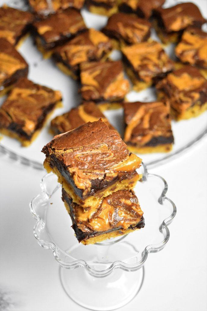 Carrés au chocolat et beurre de cacahuètes