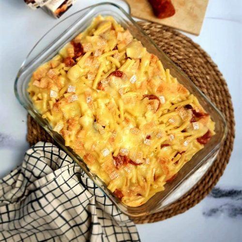 Gratin de macaroni au chorizo et maroilles