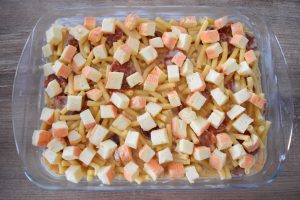 Gratin de pâtes au chorizo et maroilles