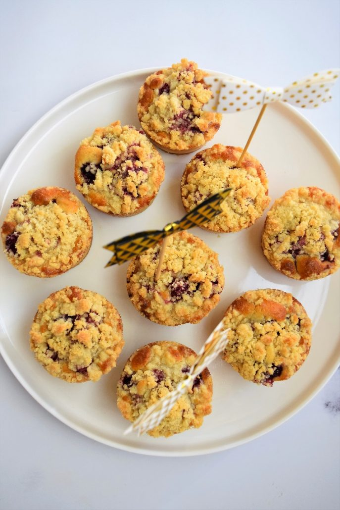 Muffins aux framboises et crumble