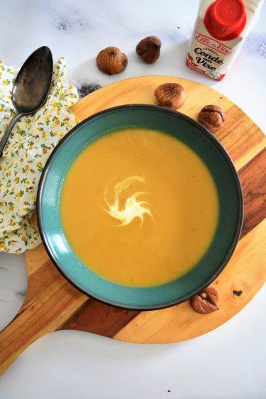 Velouté de butternut et marrons au companion