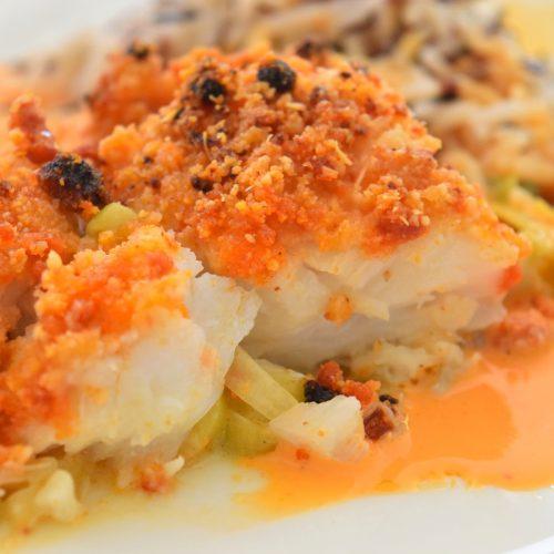 Gratin de poisson au chorizo et poireaux