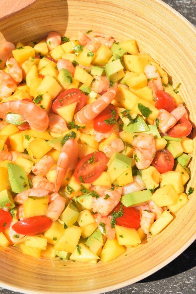 Salade froide aux crevettes