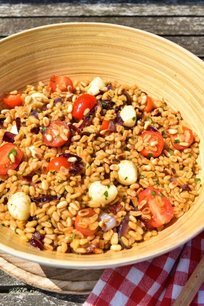 Salade de blé aux oignons, mozzarella, tomate