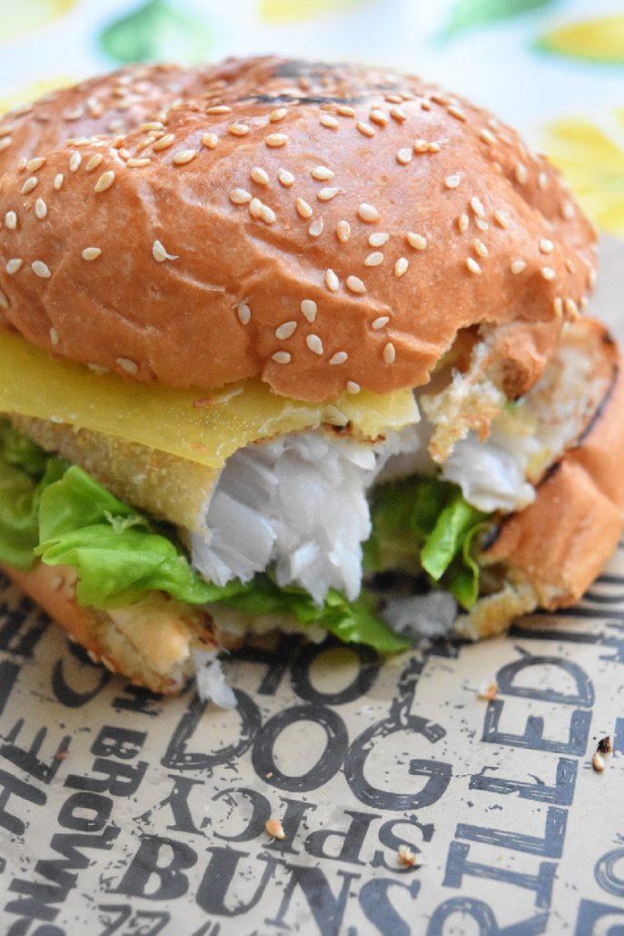 Fish burger au cabillaud pané