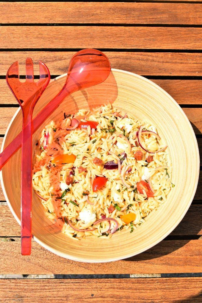 Salade de pâtes au chorizo et mozzarella