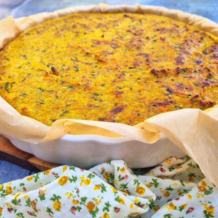 Tarte aux courgettes, carottes et lardons