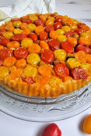 Tarte tatin aux tomates cerises et chorizo