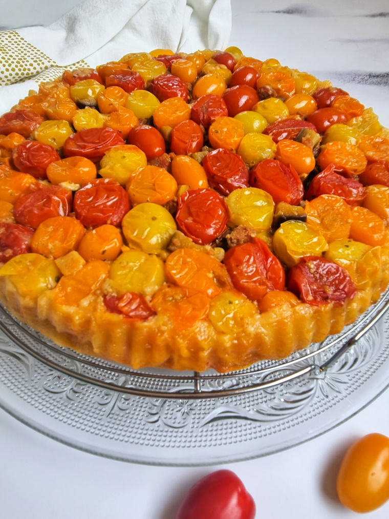 Tatin salée aux tomates cerises, chorizo
