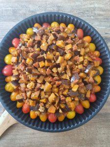Tomates cerises, aubergine, chorizo