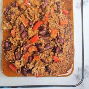 Chili con carne en batch cooking