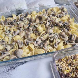 Gratin de pâtes au champignons en batch cooking