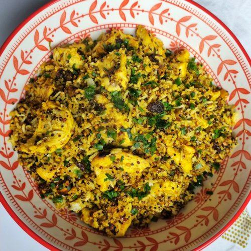 Riz pilaf au curry, poulet, miel, fruits secs